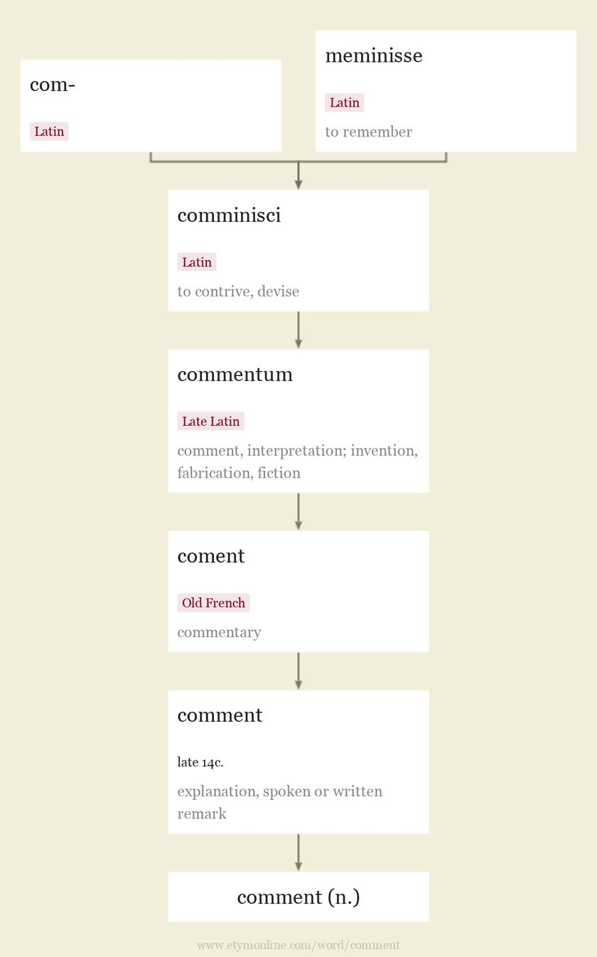 Origin and meaning of comment