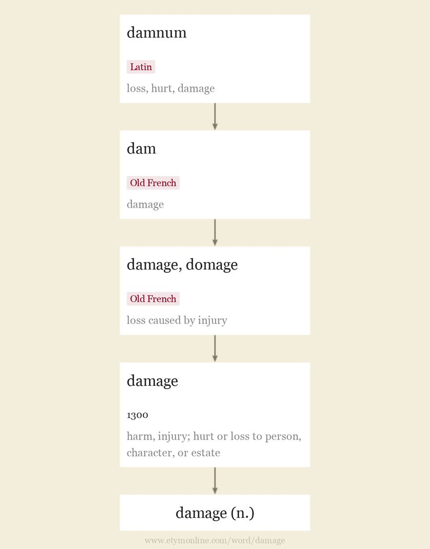 Origin and meaning of damage