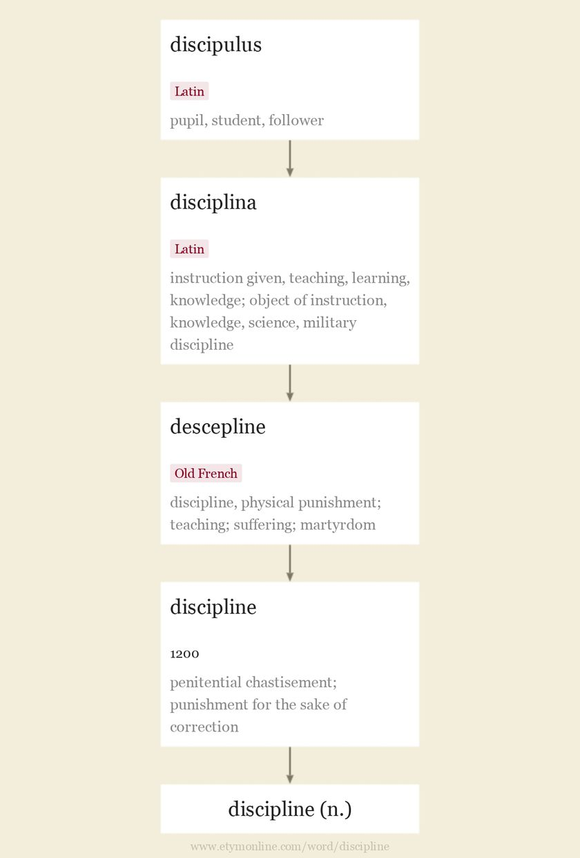 Origin and meaning of discipline